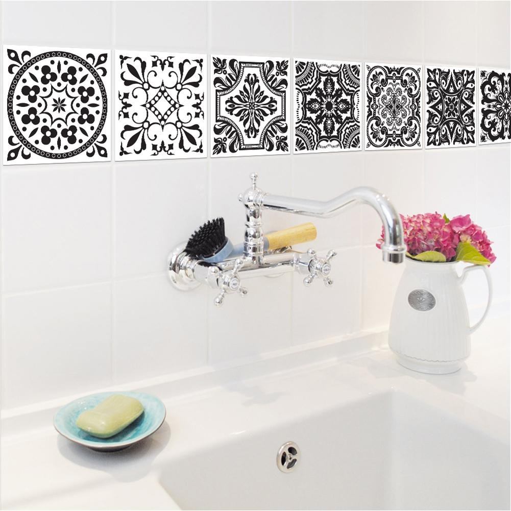 Sticker carrelage adh/ésif Mural Salle de Bain et Cuisine Sticker Autocollant Carrelage Mosa/ïque carrelage Mural Carreaux de Ciment adhesif Design Black White