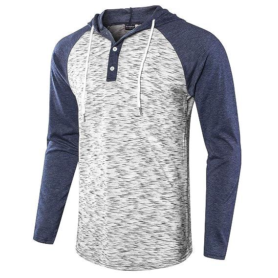 Moomphya Men's Jacquard Knitted Casual Short Sleeve Raglan Henley Jersey Hoodie T Shirt by Moomphya