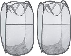 WD&CD 2PCS Laundry Baskets Foldable Pop Up Mesh Washing Laundry Basket Bag Bin Hamper Toy Tidy Storage Organiser Organizer(Gray)