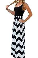 ChongXiao Women's Summer Sleeveless Boho Wave Striped Beach Chevron Long Maxi Dress