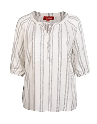 ddc61291bb45 THEA by Adler Mode Damen Bluse mit Perlen am V-Ausschnitt - Tunika,  Langarmshirt