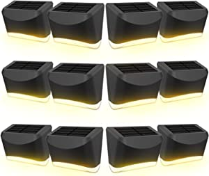 Aigostar 12 Pack Outdoor Solar Step Lights, Waterproof Solar Powered Deck Lights Outside Night Lights Decor for Steps Stairs Walkway Garden Fences Wall Lamp 3000K