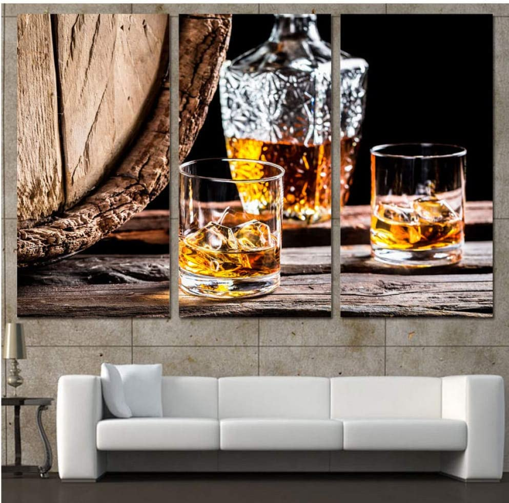AMDPH 3Pcs Wall Art Pictures Alcoholic Beverage Canvas Painting Hd Prints Posters Living Room Home Modern Decoration Triptych Artwork Office Corridor Mural