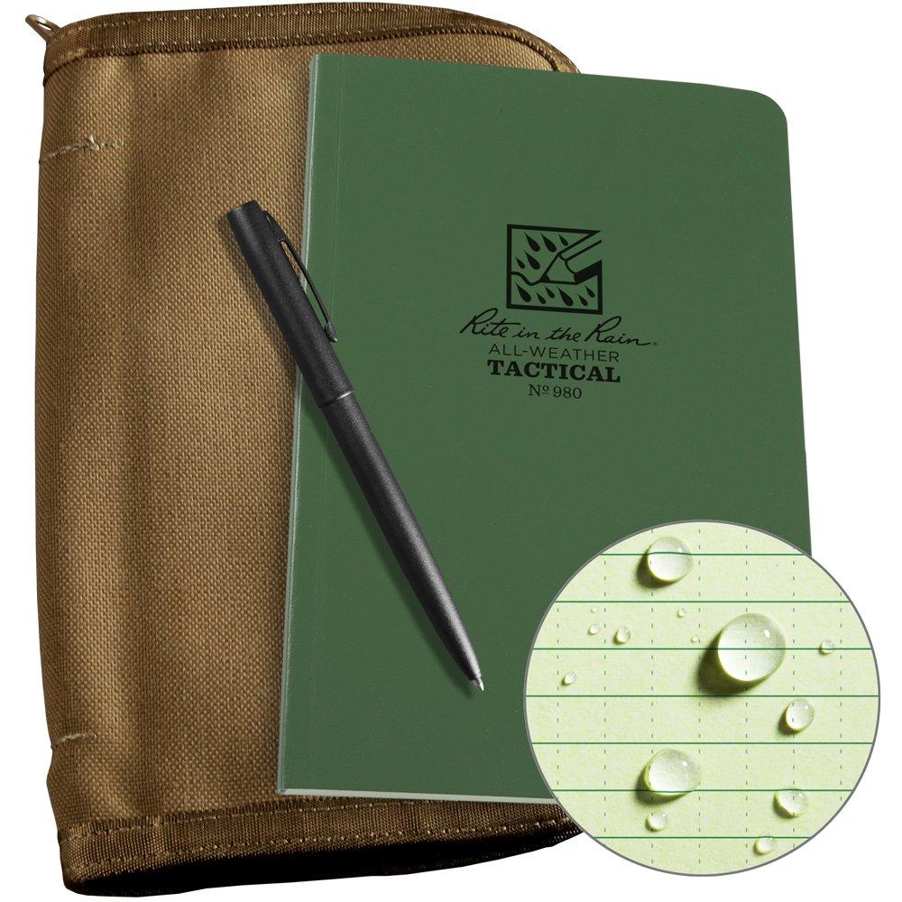 Rite in the Rain Weatherproof Tactical Field Kit: Tan CORDURA Fabric Cover, 4 5/8'' x 7 1/4'' Green Tactical Notebook, and Weatherproof Pen (No. 980-KIT)