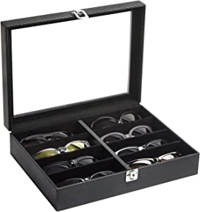 JackCubeDesign 8 Compartments Leather Eyeglass Display Organizer, Sunglass Storage Case Box Tray with Acrylic Cover (Carbon Design Black) - MK379A