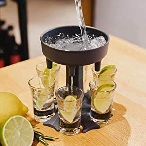 6 Shot Glass Dispenser and Holder, Carrier Caddy Liquor Dispenser Wine Dispenser, Espresso Shot Glass Revolving Carrier Liquor Caddy for Cocktail Party