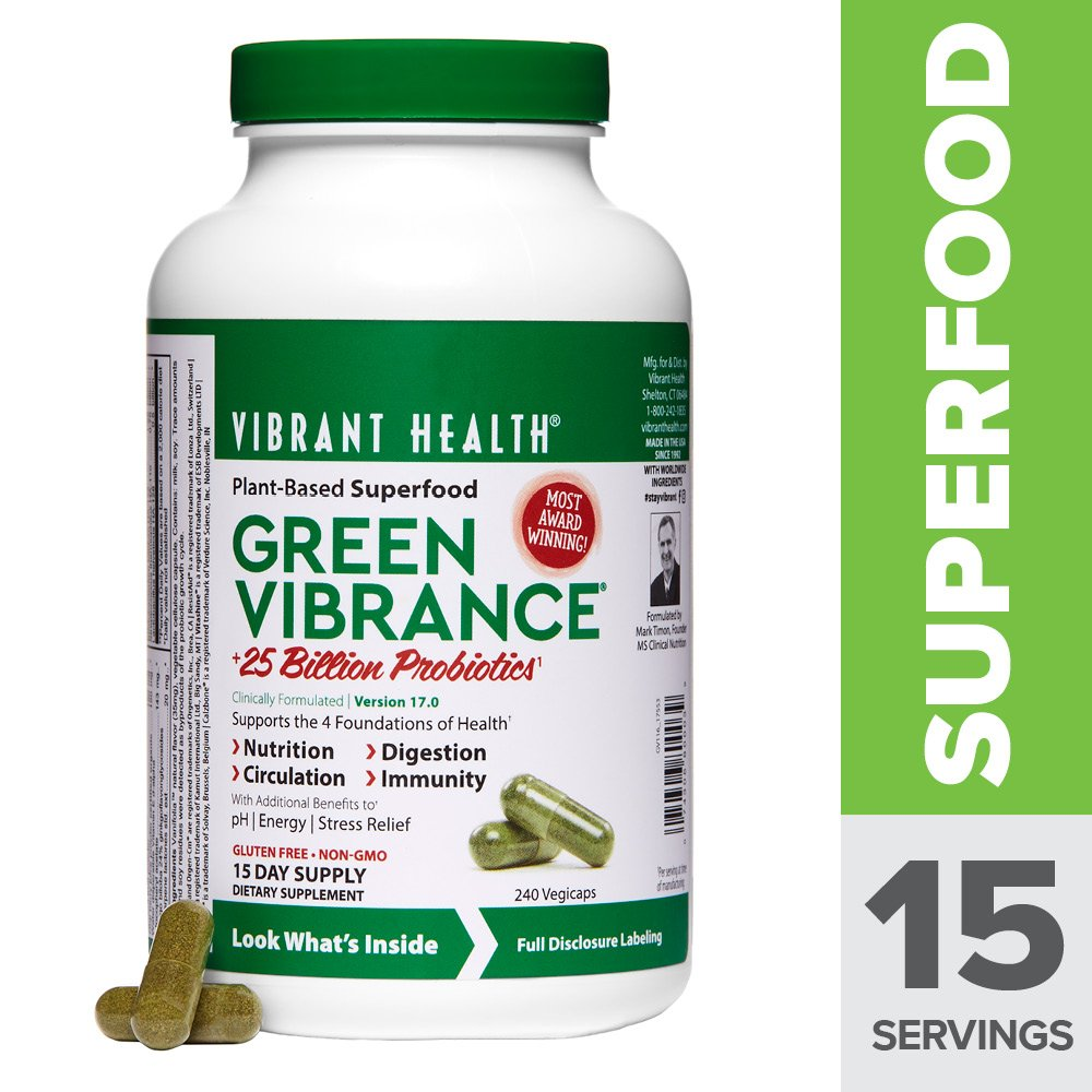 Vibrant Health - Green Vibrance, Natural Daily Superfood + Probiotics and Digestive Enzymes, 15 Servings