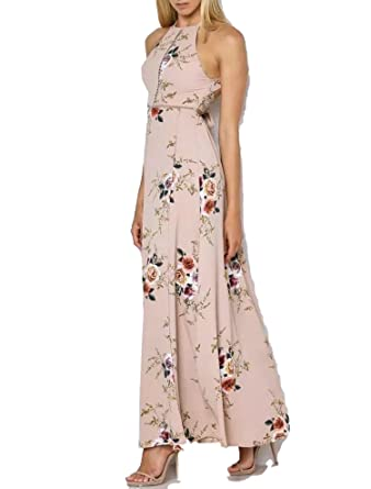 New Floral Print Halter Chiffon Long Dress Women Backless Summer