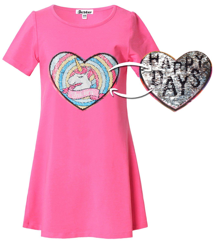 Girl Unicorn Shirt Dress Sequin Reversible Patch Cotton Summer Rainbow Pink Kid