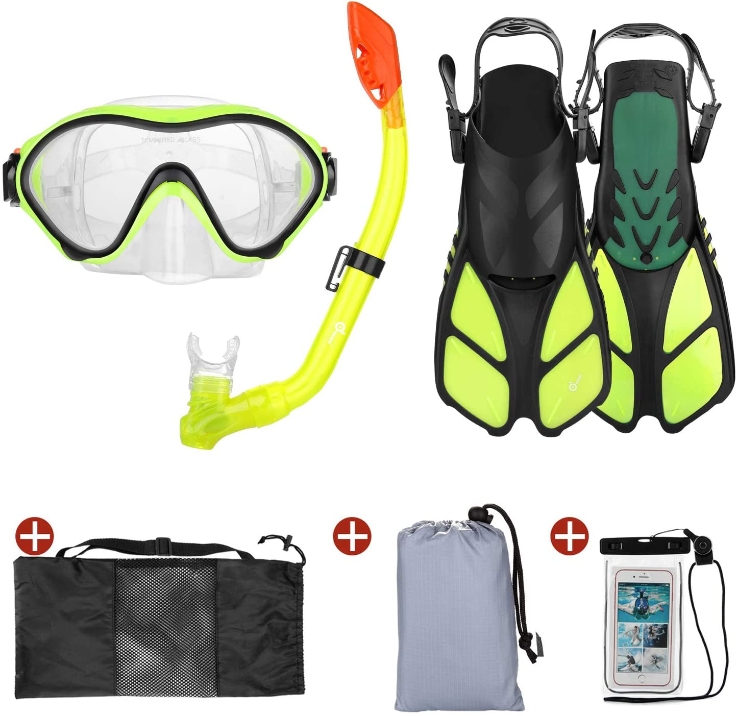 Odoland 6-in-1 Kids Snorkeling Packages Snorkel Set, Anti-Fog and Anti-Leak Full Face Snorkel Mask with Adjustable Swim Fins, Beach Blanket and Waterproof Case for Boys and Girls Age 9-15 Yellow : Sports & Outdoors