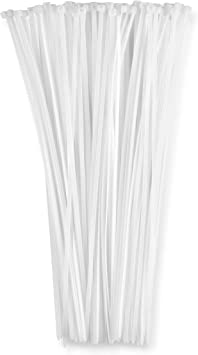 15 Inch Nylon strong Plastic Quality Cable Zip Wire Ties White 100 Pack