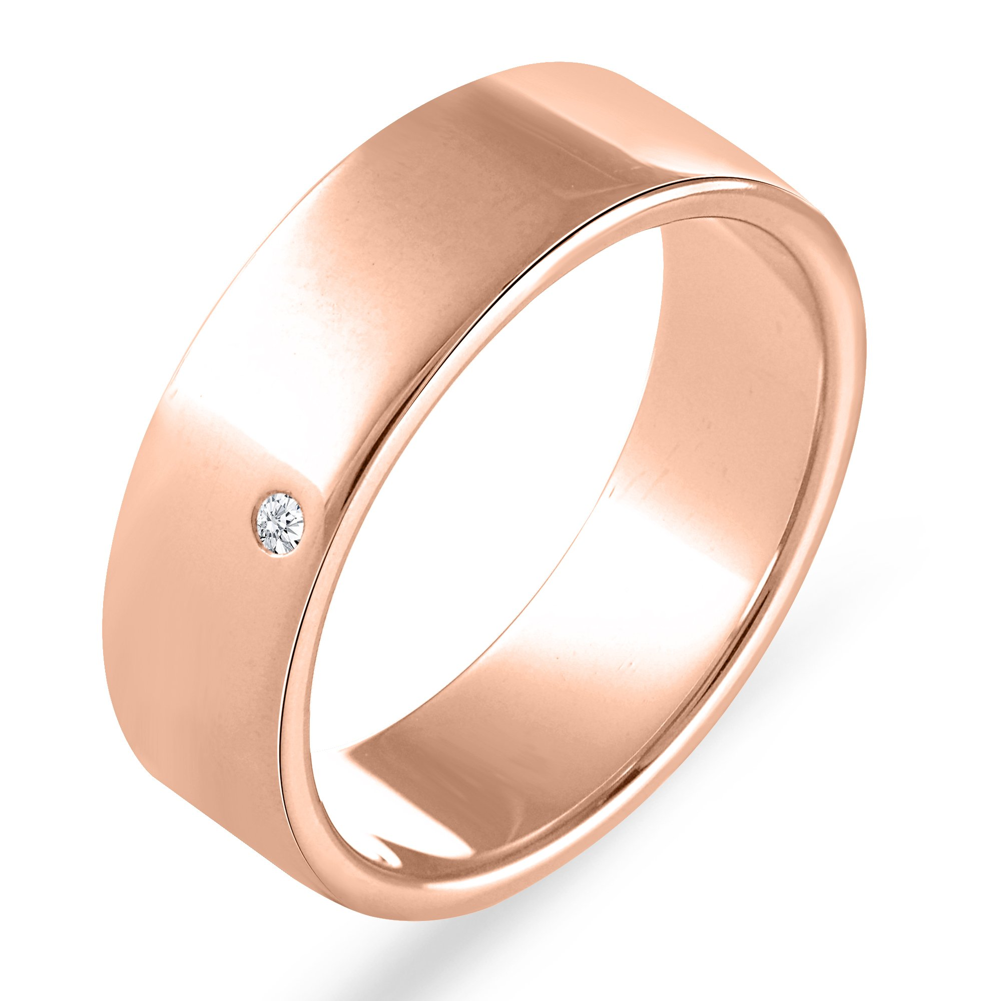 7 MM Wide 0.02 Ct. 10K Rose Gold Real Natural Round Cut Diamond Anniversary Band Wedding Ring Comfort Fit