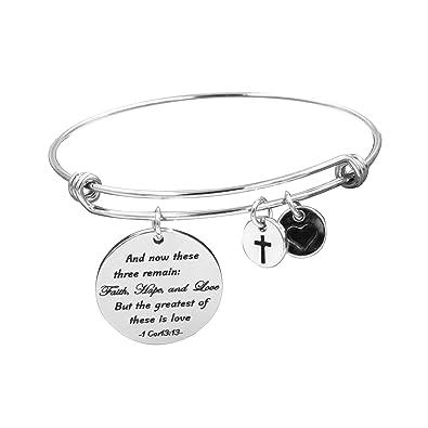 Stainless Steel Jewelry Wire | Amazon Com Yiyangjewelry Faith Christian Bangle Bracelet For Women