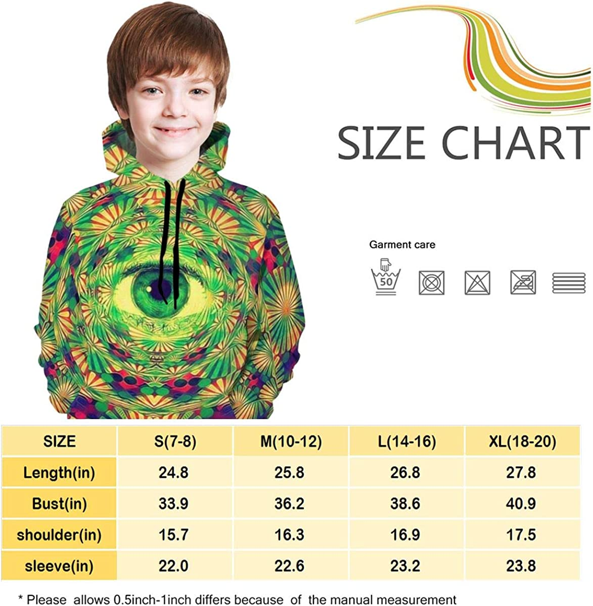 Kjiurhfyheuij Teens Pullover Hoodies with Pocket Tie Dye Weed Eye Fleece Hooded Sweatshirt for Youth Kids Boys Girls