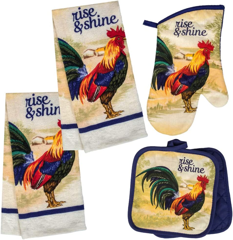 Rooster Themed Kitchen Towel Set with 2 Quilted Pot Holders, 2 Dish Towels and 1 Oven Mitt