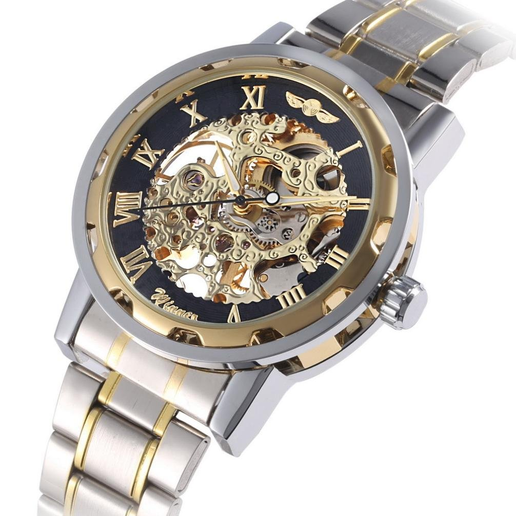 howstar腕時計メンズ中空スケルトン自動機械ステンレススチール腕時計、Perfectギフト父の日の B071HL3JFF ブラック