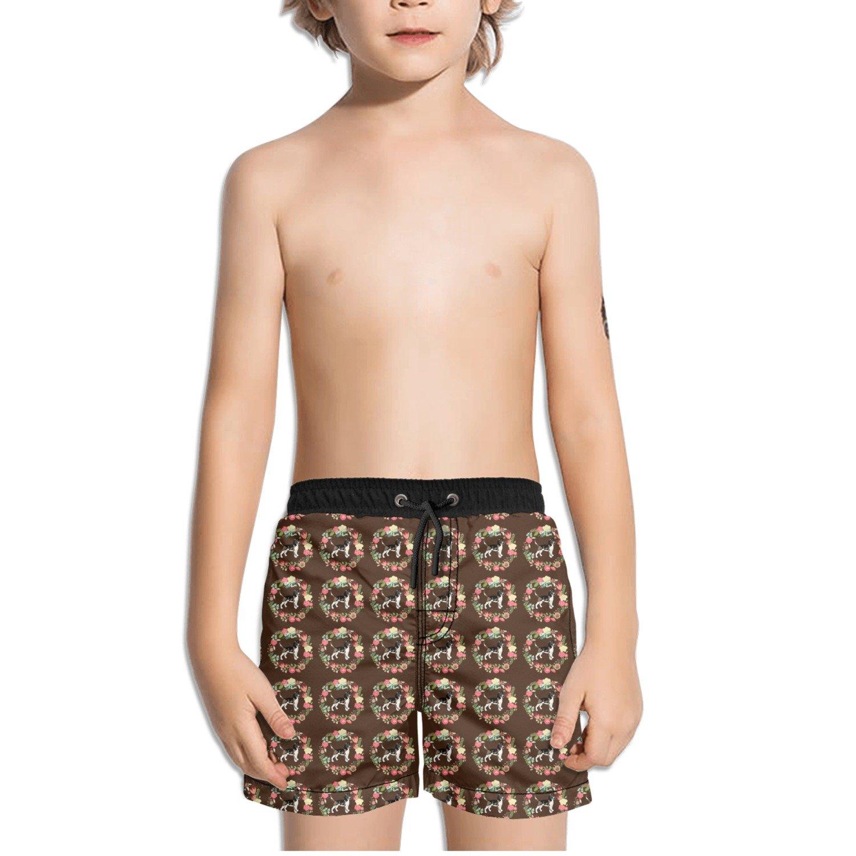 FullBo Beagle Dog Flower Pattern Brown Little Boys Short Swim Trunks Quick Dry Beach Shorts