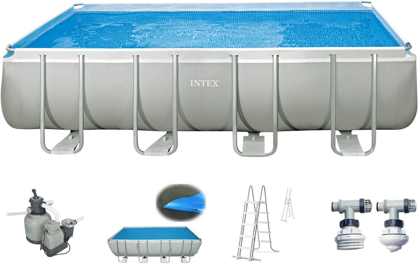 Intex Piscina 549 x 274 x 132 cm Piscina acero pared metal marco con Intex filtro de arena 10.500 L/h, escalera, Solar pantalla: Amazon.es: Jardín