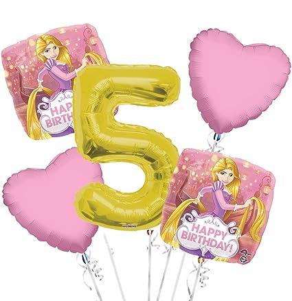Amazon.com: Rapunzel el Globo Ramo 5th Cumpleaños 5 Pcs ...