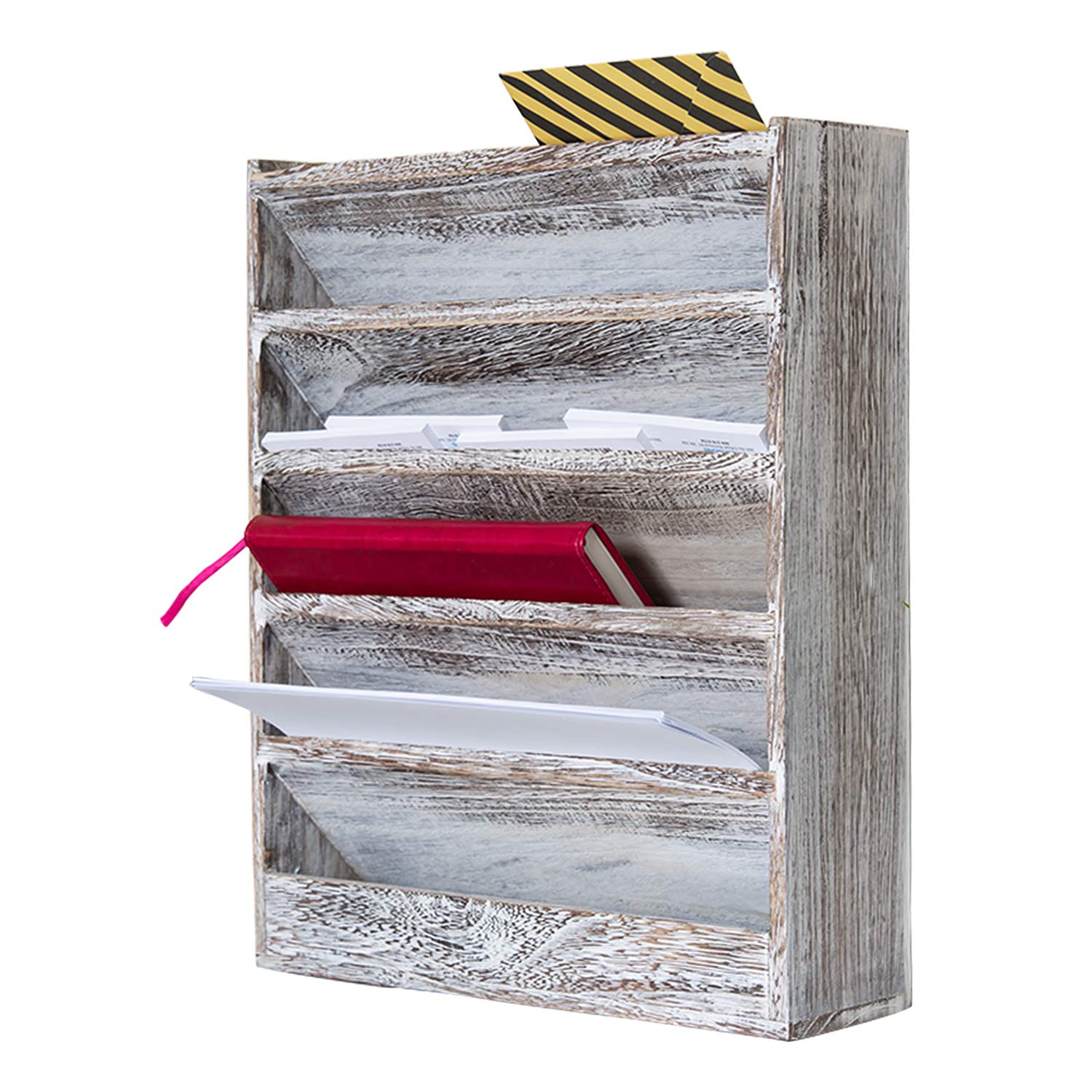 Comfify Rustic Wood Document Filing Organizer for Home or Office - Wall Mounted Magazine Holder with 5 Slots - Mail Organizer for Wall - Real Torched Wood Mail Rack Tray - Rustic White by Comfify