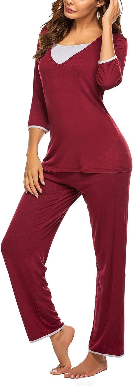 Ekouaer 3//4 Sleeve Maternity Pajama Sets for Hospital Double Layer Woman Nursing Sleepwear Set for Breastfeeding