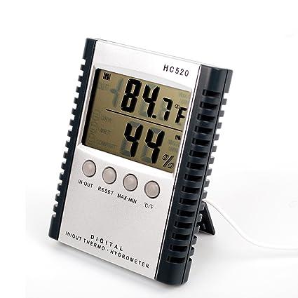 alucky meteorológica termómetro digital de interior/exterior higrómetro humedad HC520 multifunción con pantalla LCD (