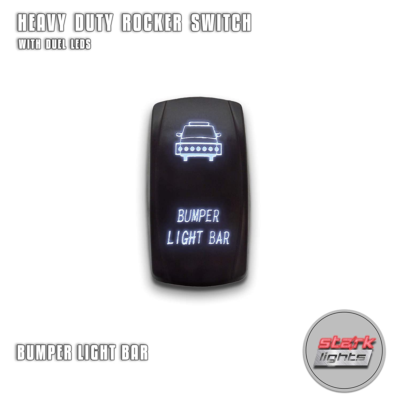 BED LIGHTS - Blue - STARK 5-PIN Laser Etched LED Rocker Switch Dual Light - 20A 12V ON/OFF UNV inc