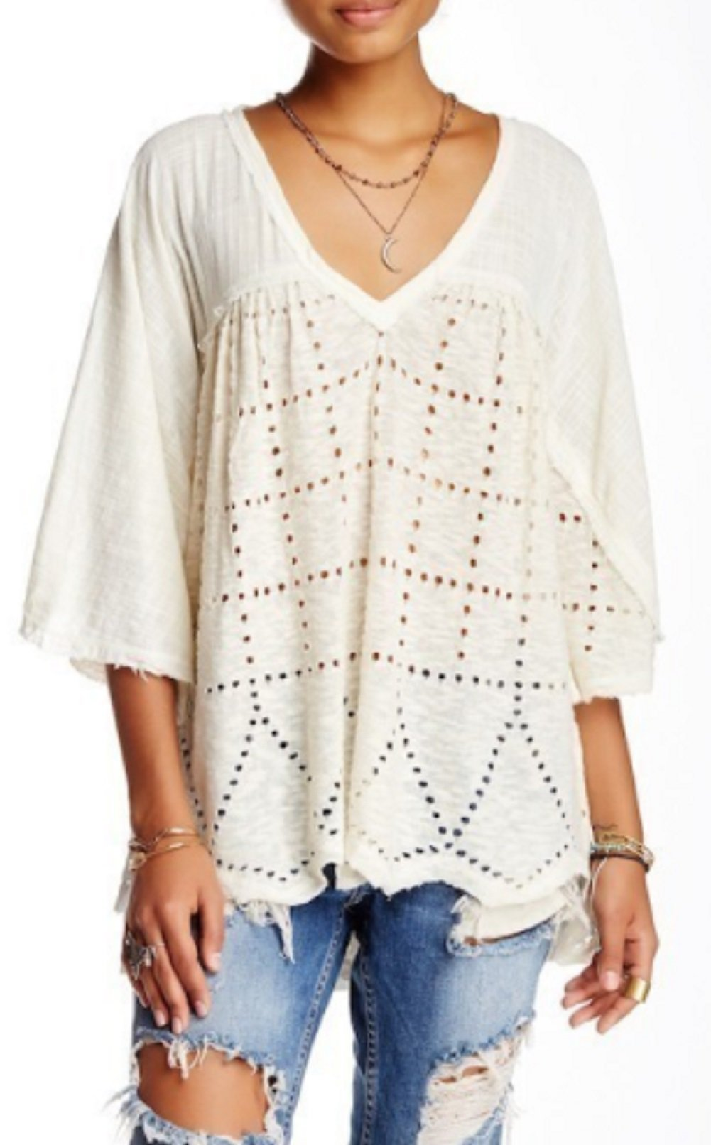 Free People 7471 Womens Summer Lovin' Ivory Perforated V-neck Blouse Top