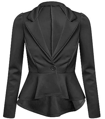 New Womens Plus Size Long Sleeve Waist Frill Button Blazer Peplum ...