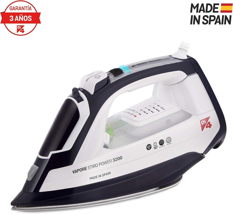 Di4 Vapore Stiro Power 3200 Plancha W, 1.4 litros, Mango Sense Technology (Sensor táctil), Tecnología de Temperatura PATENTADA