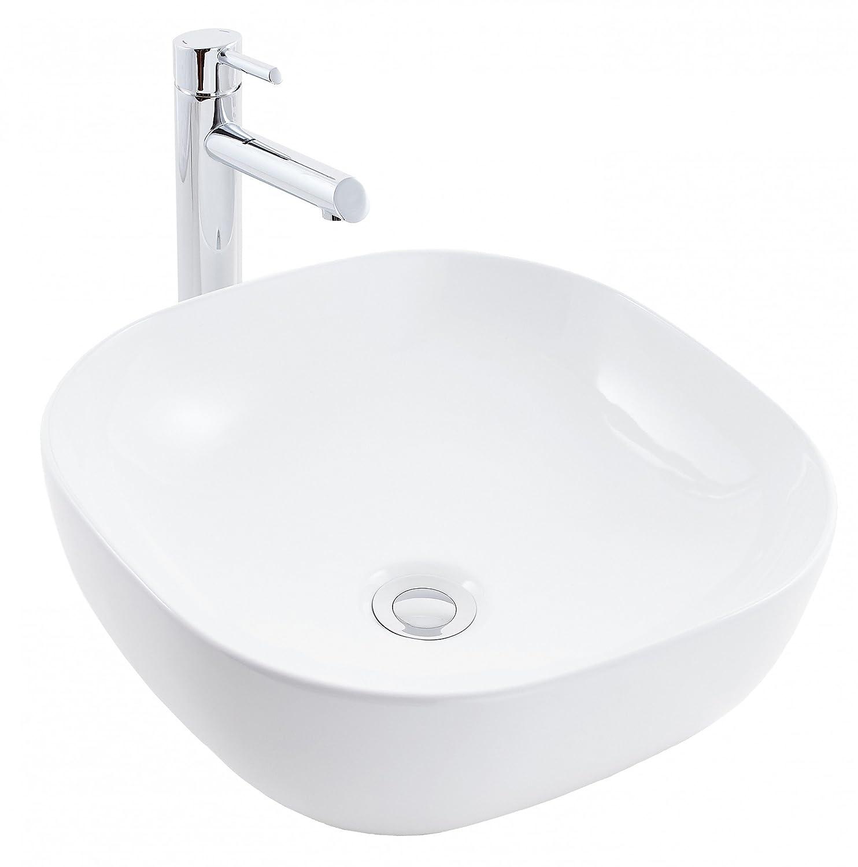 prsHOME® COMO Design - Lavabo da appoggio per bagno in ceramica, quadrato