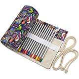 BTSKY Canvas Colored Pencil Roll Wrap 72 Slot--Adult Coloring Pencil Holder Organizer for 72 Colored Pencils, NO Pencils (Bohemian)