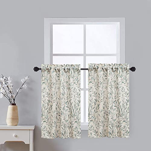 VOGOL Window Tiers Curtains 36 Inch Leaves Print Valances for Kitchen Lattice, Top Pocket Half Curtain Tier for Kid s Room Bedroom, 2 Panels, 30X36 Inch, Blue