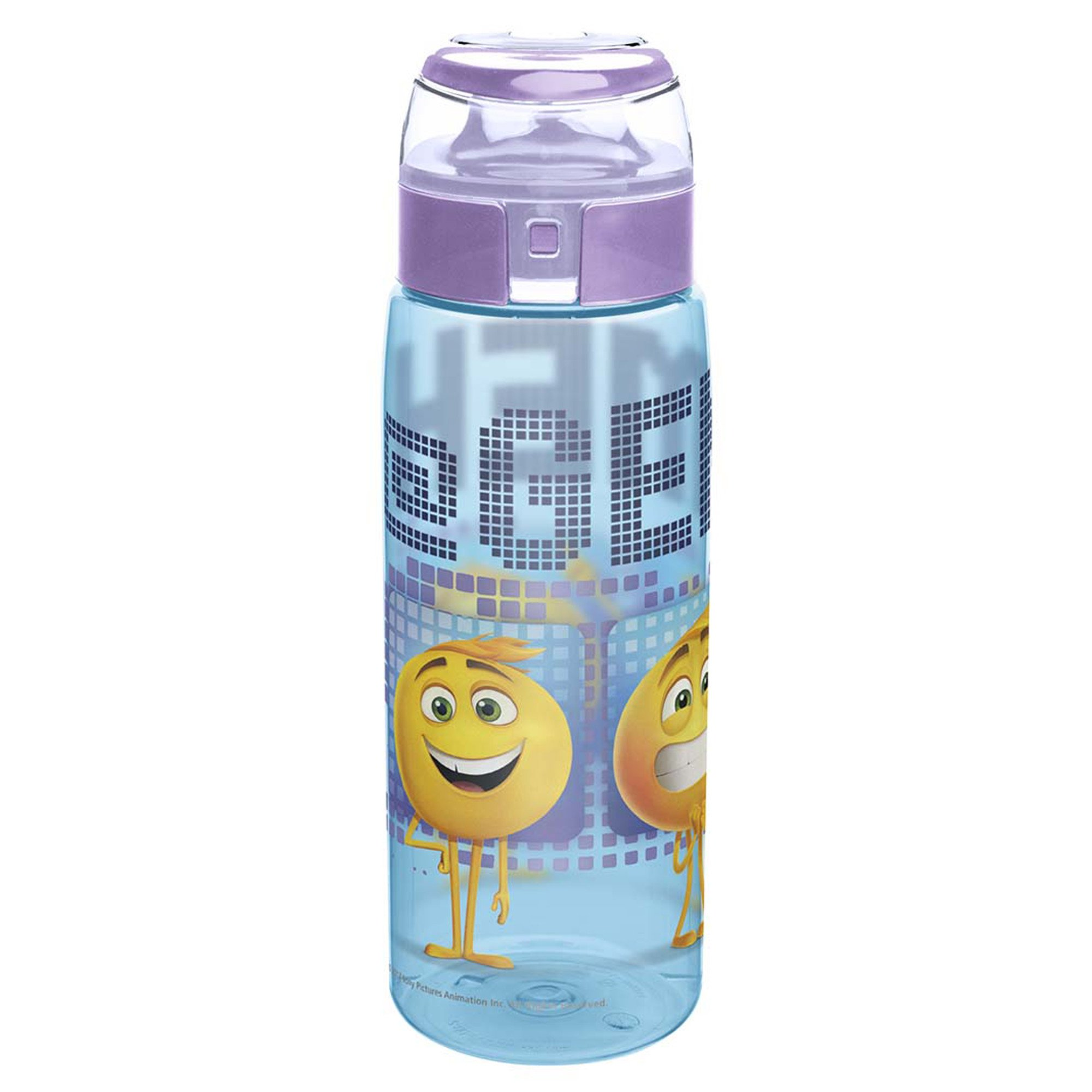 Zak Designs EMMA-K950 Emoji Movie Emoticons Reusable Wide Mouth Water Bottle with Loop BPA-Free 25 Ounce