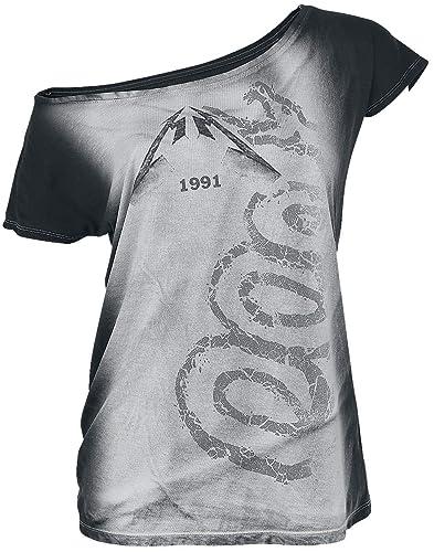 Metallica Black Album Camiseta Mujer Gris-Blanco