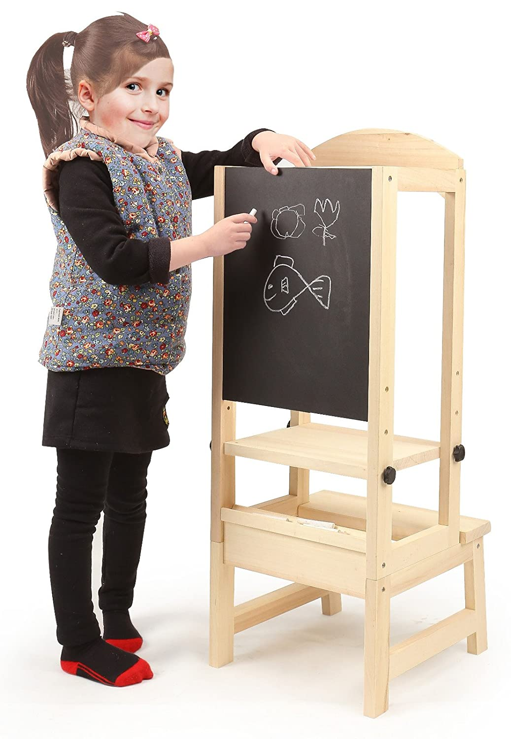 Kids kitchen helper Toddler Step Stool wit drawing board Adjustable Height chair chuck & blair
