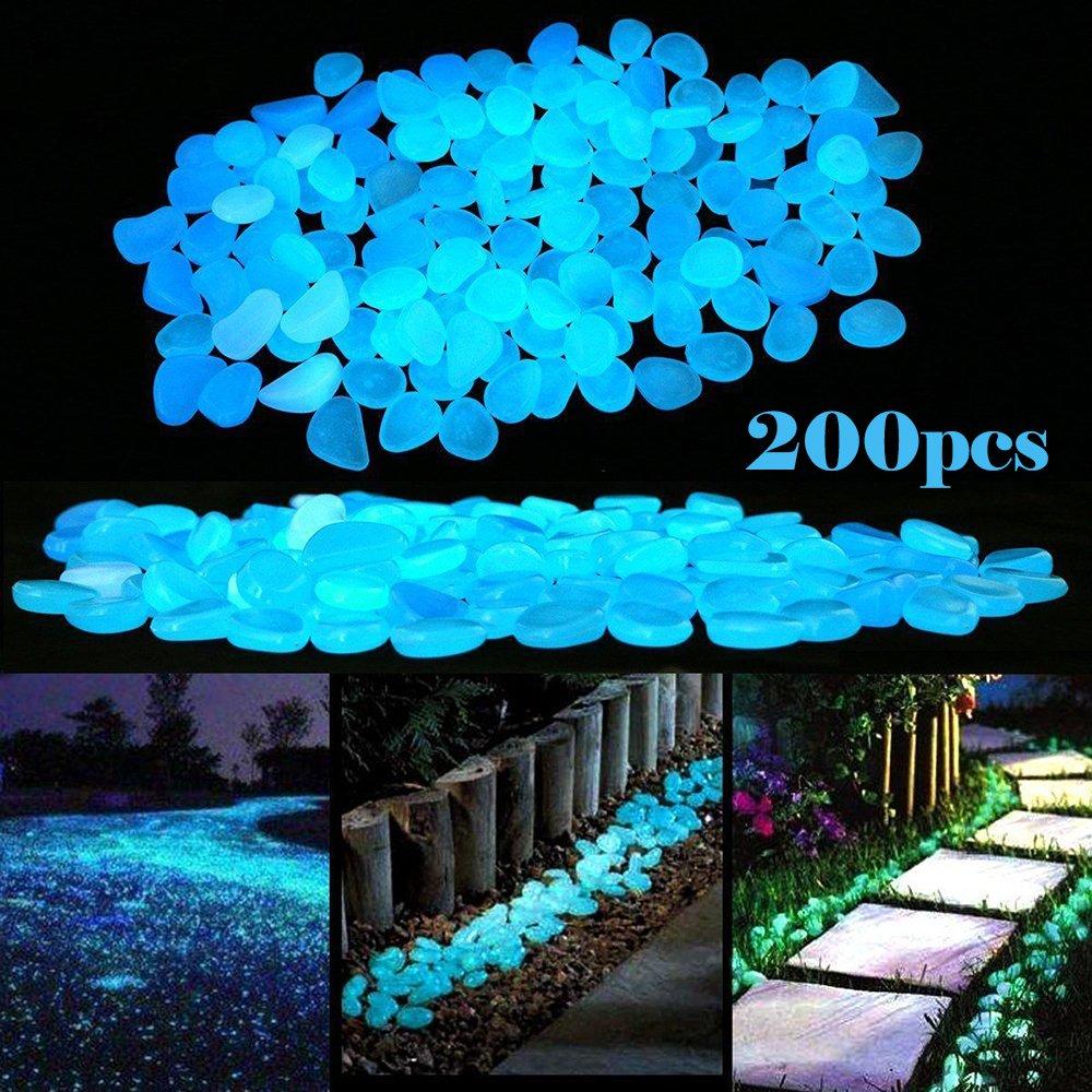 LFBEST 200pcs Glowing Garden Pebbles, Glow in the Dark Pebbles Decorative Stones For Bicycle Pathway Walkways & Decor, Solar Power Luminous Stones Glowing Rocks for Plants Pot, Fish Tank (Blue)