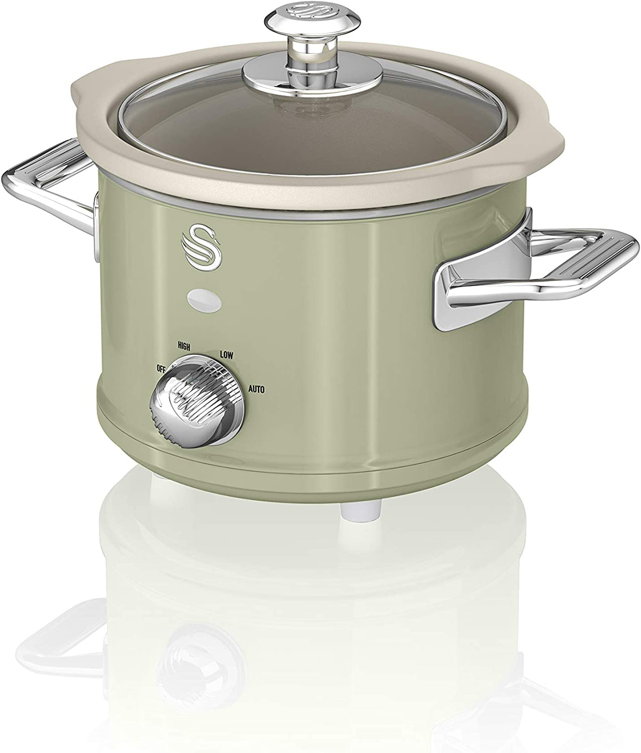 Swan SF17011GN 1.5 Litre Retro Slow Cooker with Removable Ceramic Pot, 3 Heat Settings, 120w