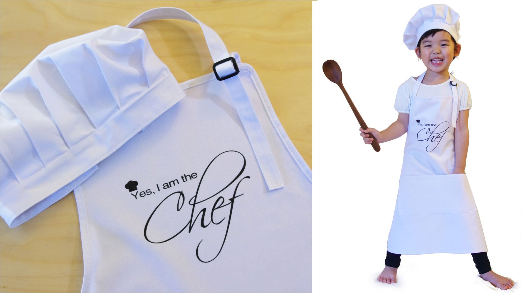 Ole Kids ''Yes, I am the Chef'' Children Apron + Chef Hat Set, White, 100% High Quality Cotton - Made For Real Kitchen Use, Fits 3-8 yrs by Drhob