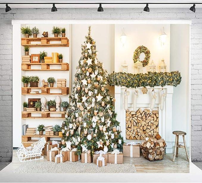 AIIKES 3Mx3M//10x10FT Chimenea del /árbol de Navidad Fotograf/ía de Fondos Estudio de Vinilo Tel/ón de Fondo para la Foto A/ño Nuevo Decoraci/ón del Hogar Apoyos 11-192