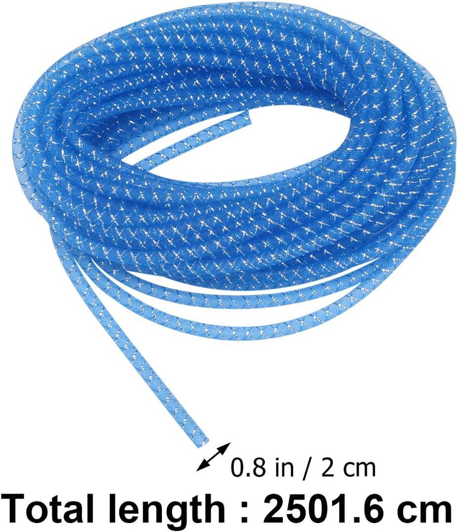 Healifty Mesh-Schlauch elastische Lametta Mesh Schlauch Schnur 8mm Mode Armband Halskette Schnur f/ür Kr/änze Schmuck Zubeh/ör Handwerk Dekor blau 25m