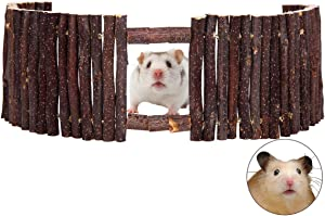 SAWMONG Flexible Wood Hideout, Hamster Rat Natural Apple Sticks Door Fence, Tunnel & Hideout for Hamster, Mouse, Gerbil, Small Animals Chew Toys Habitat Décor
