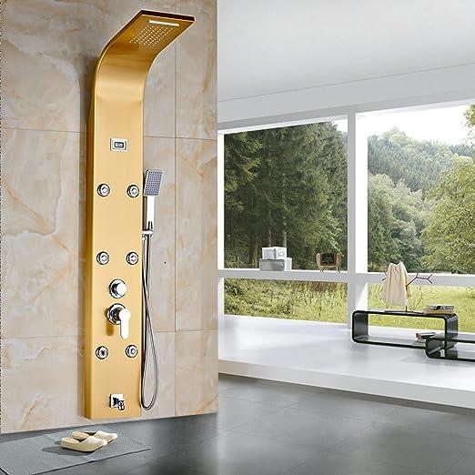 Lujo oro placa de pared Baño Ducha Panel Columna ducha + bañera ...