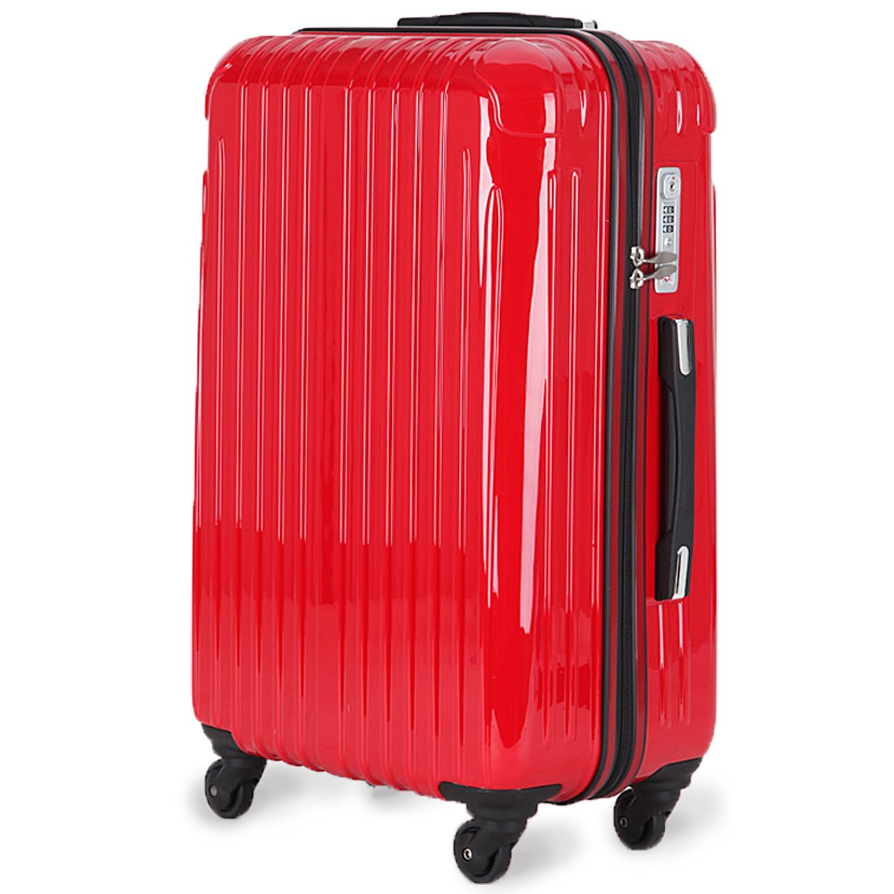 strike[ストライク]超軽量 2年保証 スーツケース TSAロック搭載 旅行バック トランクケース 旅行カバン B06Y2HKPMV 中型Mサイズ(4-7泊)|レッド レッド 中型Mサイズ(4-7泊)
