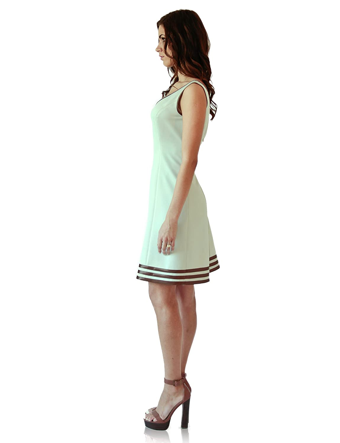 """VEERY"" A-line beige dress with satin detailing and hidden back zip closer"