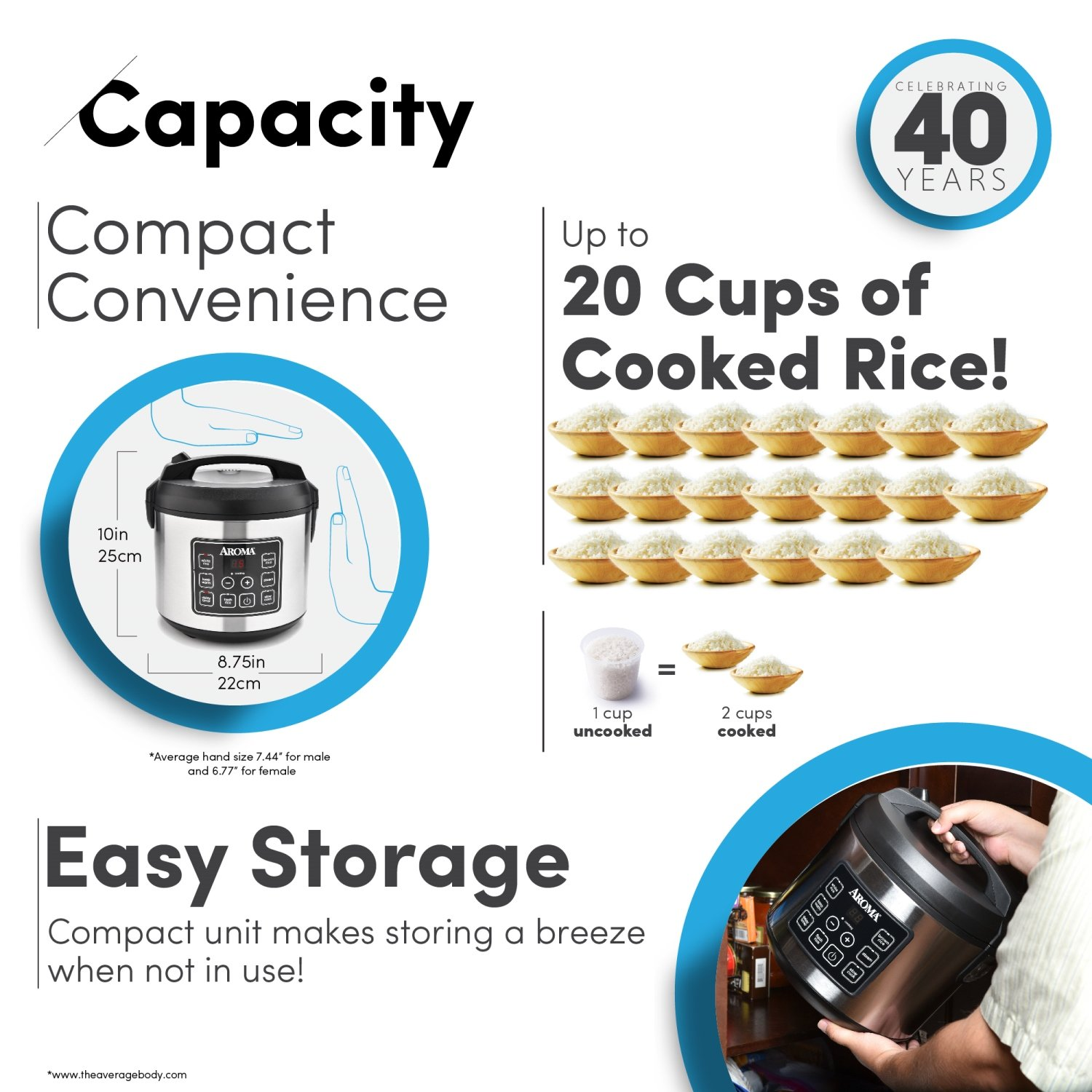 Aroma Housewares 20 Cup Cooked (10 cup uncooked) Digital Rice Cooker, Slow Cooker, Food Steamer, SS Exterior (ARC-150SB) by Aroma Housewares (Image #5)