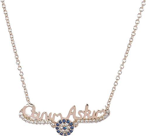 Ysn Home Collection Wunderschöne Türkische Halskette Kette Canim Askim Liebe Geschenk Rosegold Amazon De Schmuck