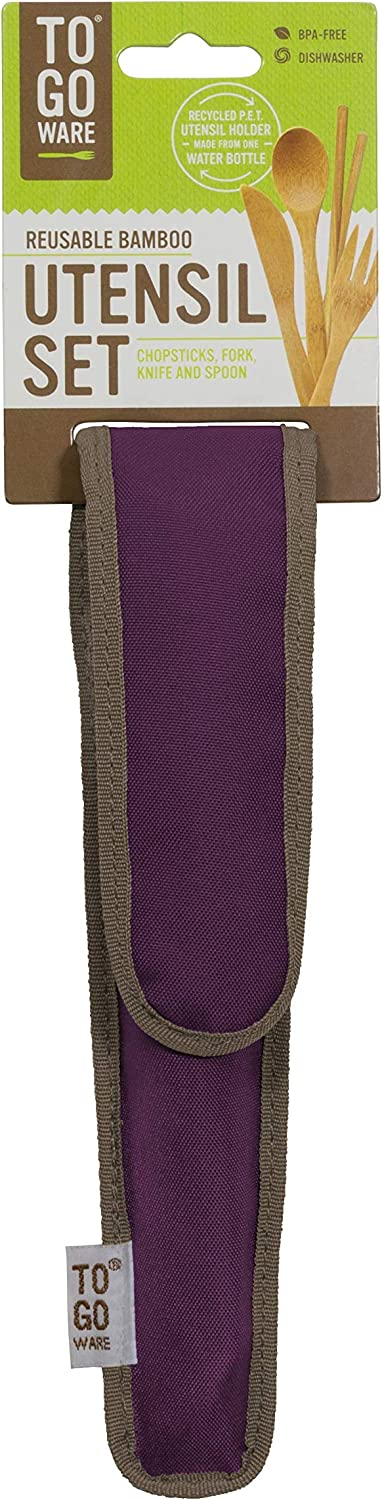 To Go Ware Reusable Bamboo Travel Utensil Set with Recycled PET Carrying Case, Mulberry Purple