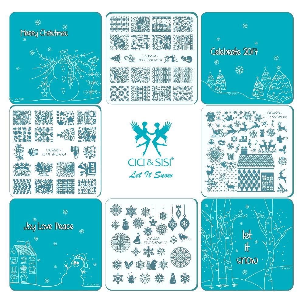 Cici et Sisi de Noël Nail Art Stamping Plaques kit Konad Plaque Manucure DIY Modèle 4Pieces-let IT Snow CICI&SISI