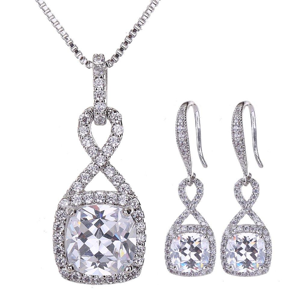 Jewelry & Watches Women's Wedding Jewellery Sets Fashion Bride Earrings & Pendant Necklace Jewelry Sets
